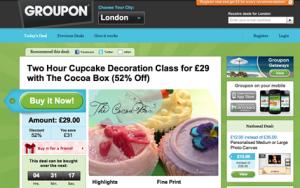 Groupon website and voucher